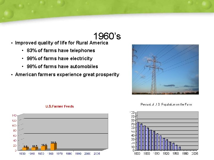 1960's • Improved quality of life for Rural America • 83% of farms have