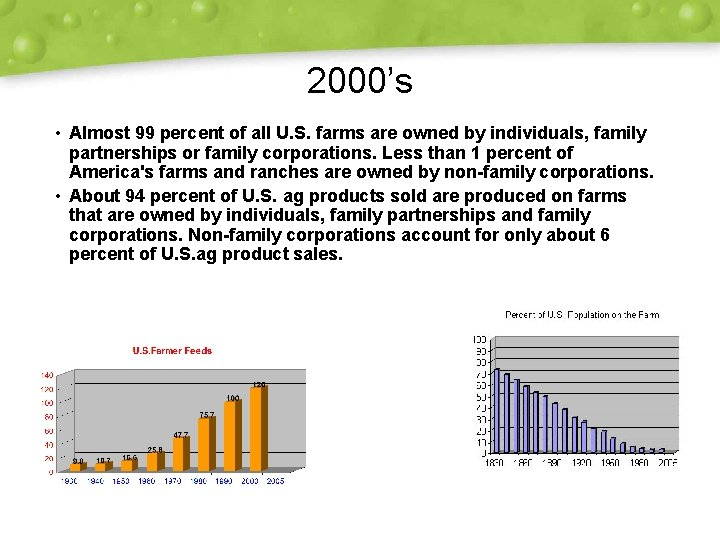 2000's • Almost 99 percent of all U. S. farms are owned by individuals,