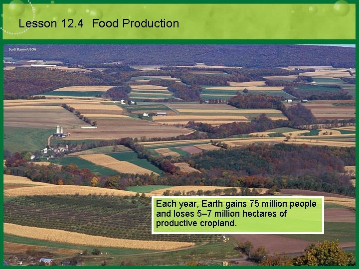 Lesson 12. 4 Food Production Each year, Earth gains 75 million people and loses