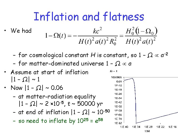Inflation and flatness • We had – for cosmological constant H is constant, so