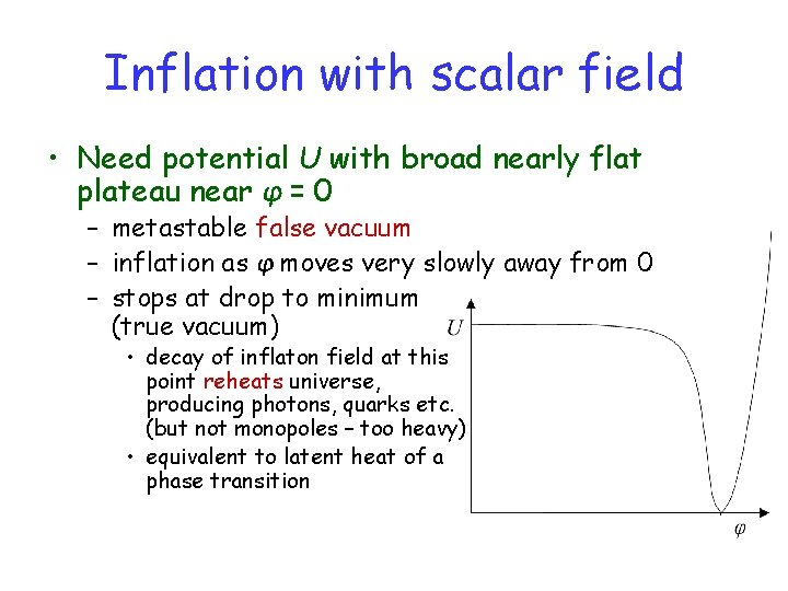 Inflation with scalar field • Need potential U with broad nearly flat plateau near