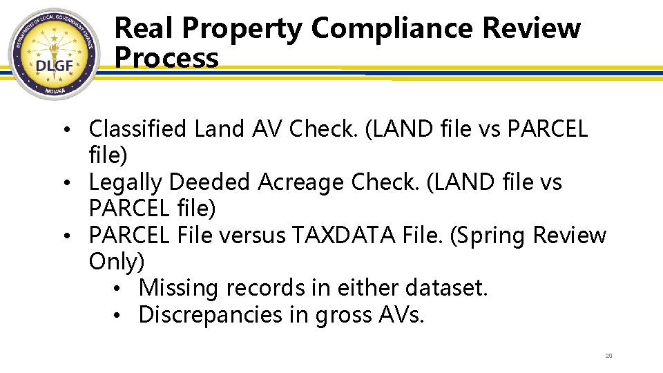 Real Property Compliance Review Process • Classified Land AV Check. (LAND file vs PARCEL