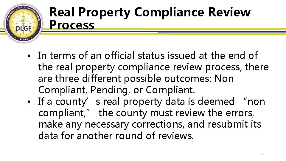 Real Property Compliance Review Process • In terms of an official status issued at