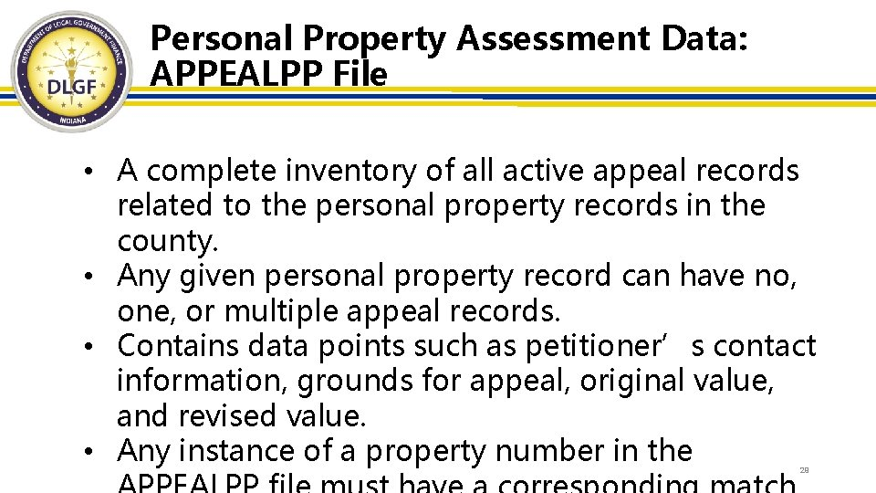Personal Property Assessment Data: APPEALPP File • A complete inventory of all active appeal