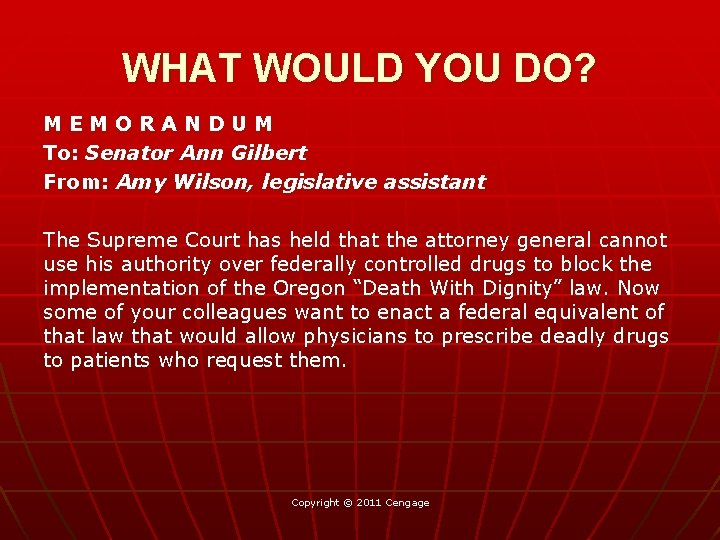 WHAT WOULD YOU DO? MEMORANDUM To: Senator Ann Gilbert From: Amy Wilson, legislative assistant
