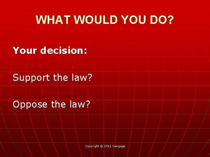 WHAT WOULD YOU DO? Your decision: Support the law? Oppose the law? Copyright ©
