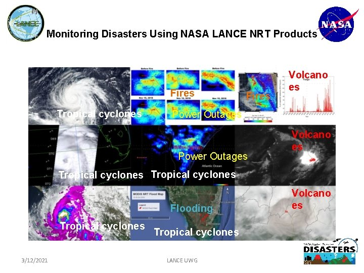 Monitoring Disasters Using NASA LANCE NRT Products Fires Tropical cyclones Fires Volcano es Power