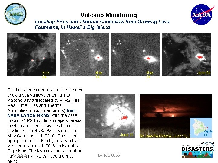 Volcano Monitoring Locating Fires and Thermal Anomalies from Growing Lava Fountains, in Hawaii's Big