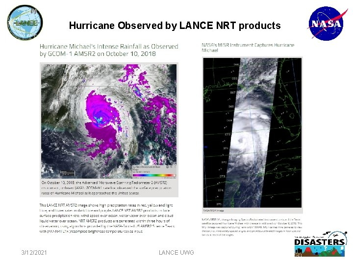 Hurricane Observed by LANCE NRT products 3/12/2021 LANCE UWG 6