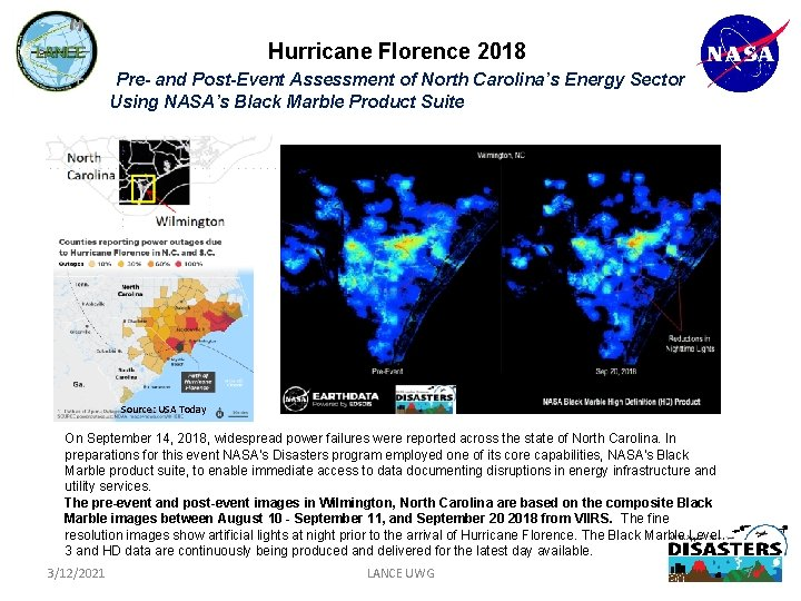 Hurricane Florence 2018 Pre- and Post-Event Assessment of North Carolina's Energy Sector Using NASA's