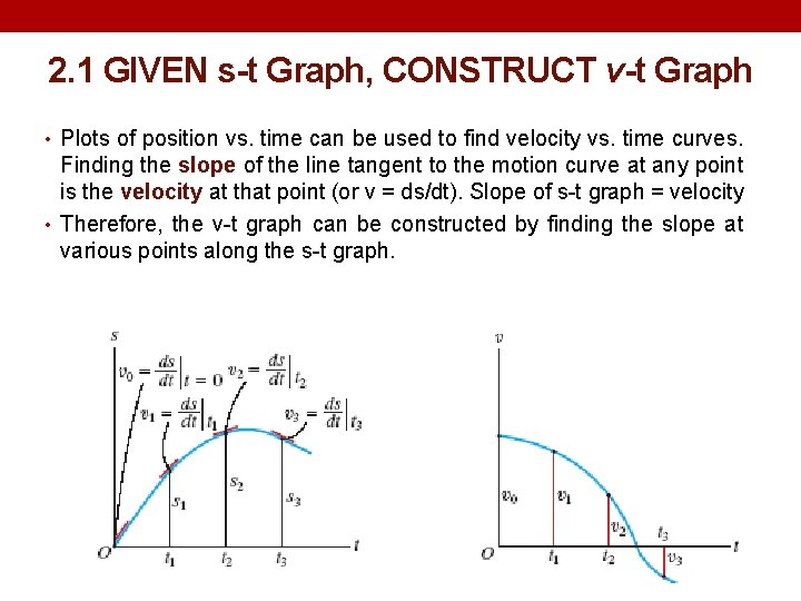 2. 1 GIVEN s-t Graph, CONSTRUCT v-t Graph • Plots of position vs. time