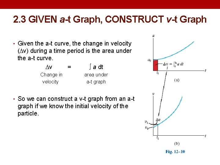 2. 3 GIVEN a-t Graph, CONSTRUCT v-t Graph • Given the a-t curve, the