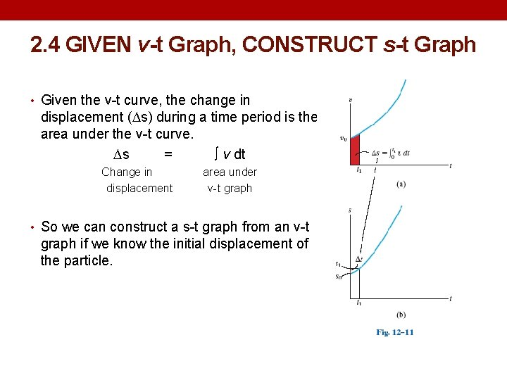 2. 4 GIVEN v-t Graph, CONSTRUCT s-t Graph • Given the v-t curve, the