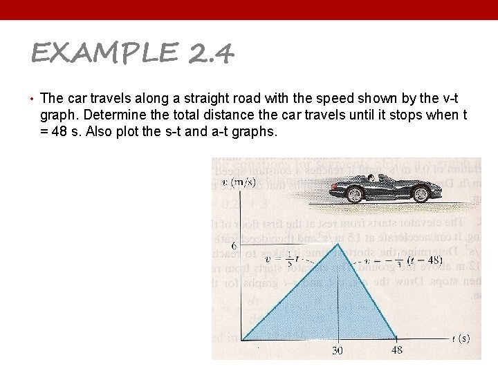 EXAMPLE 2. 4 • The car travels along a straight road with the speed