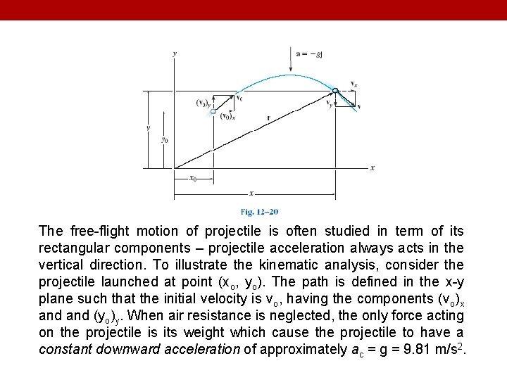 The free-flight motion of projectile is often studied in term of its rectangular components