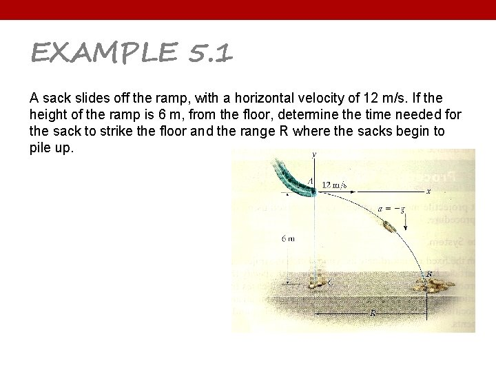 EXAMPLE 5. 1 A sack slides off the ramp, with a horizontal velocity of