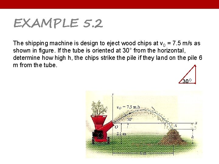 EXAMPLE 5. 2 The shipping machine is design to eject wood chips at v