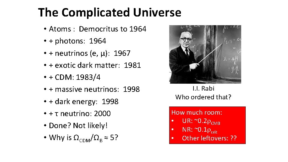 The Complicated Universe • Atoms : Democritus to 1964 • + photons: 1964 •