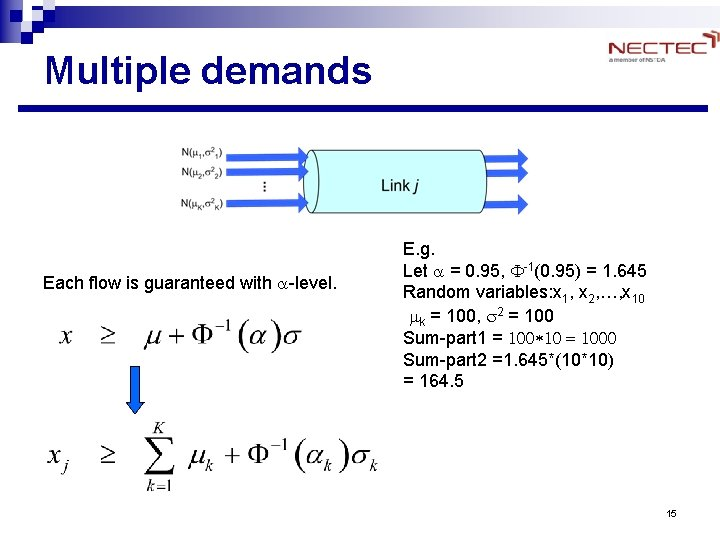 Multiple demands Each flow is guaranteed with a-level. E. g. Let a = 0.