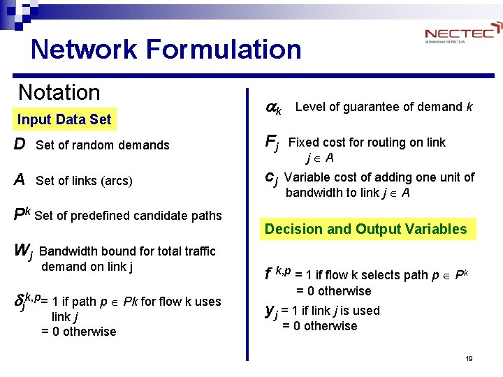 Network Formulation Notation Input Data Set ak Level of guarantee of demand k D
