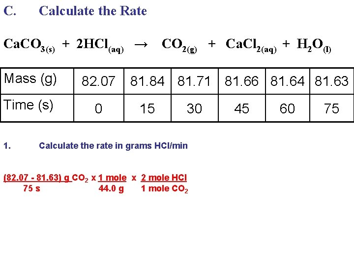 C. Calculate the Rate Ca. CO 3(s) + 2 HCl(aq) → CO 2(g) +