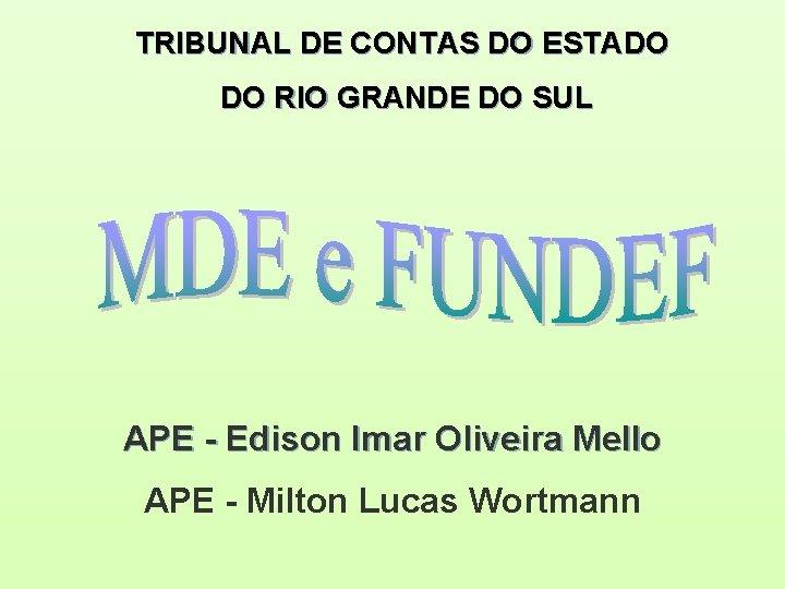 TRIBUNAL DE CONTAS DO ESTADO DO RIO GRANDE DO SUL APE - Edison Imar