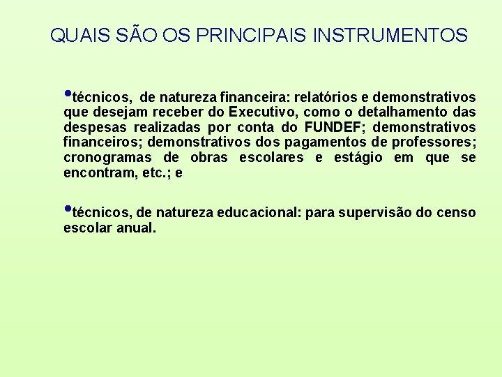 QUAIS SÃO OS PRINCIPAIS INSTRUMENTOS • técnicos, de natureza financeira: relatórios e demonstrativos que