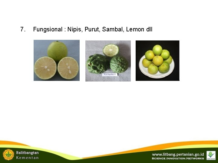 7. Fungsional : Nipis, Purut, Sambal, Lemon dll
