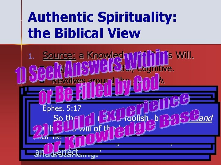 Authentic Spirituality: the Biblical View 1. Source: a Knowledge of God's Will. n Objective,
