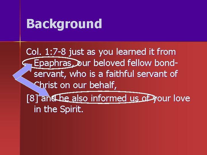 Background Col. 1: 7 -8 just as you learned it from Epaphras, our beloved