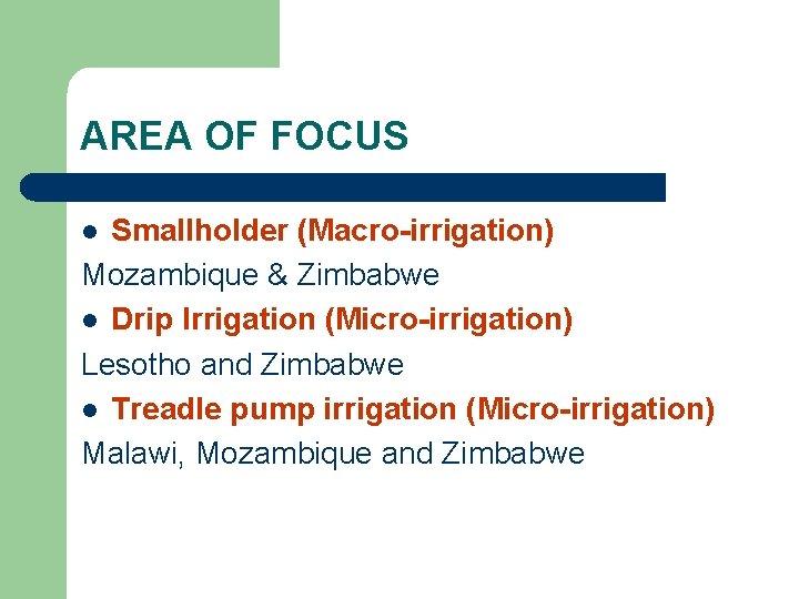 AREA OF FOCUS Smallholder (Macro-irrigation) Mozambique & Zimbabwe l Drip Irrigation (Micro-irrigation) Lesotho and