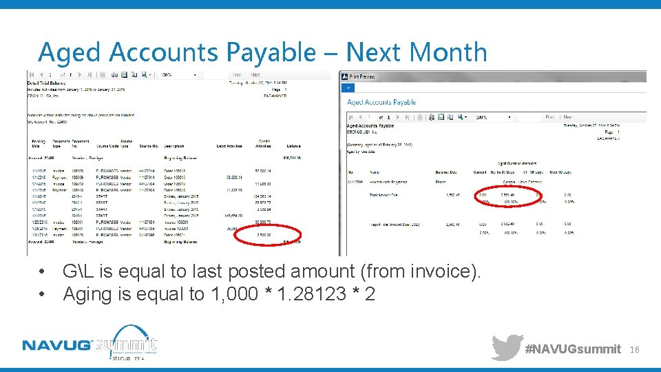 Aged Accounts Payable – Next Month • GL is equal to last posted amount