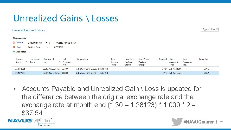 Unrealized Gains  Losses • Accounts Payable and Unrealized Gain  Loss is updated