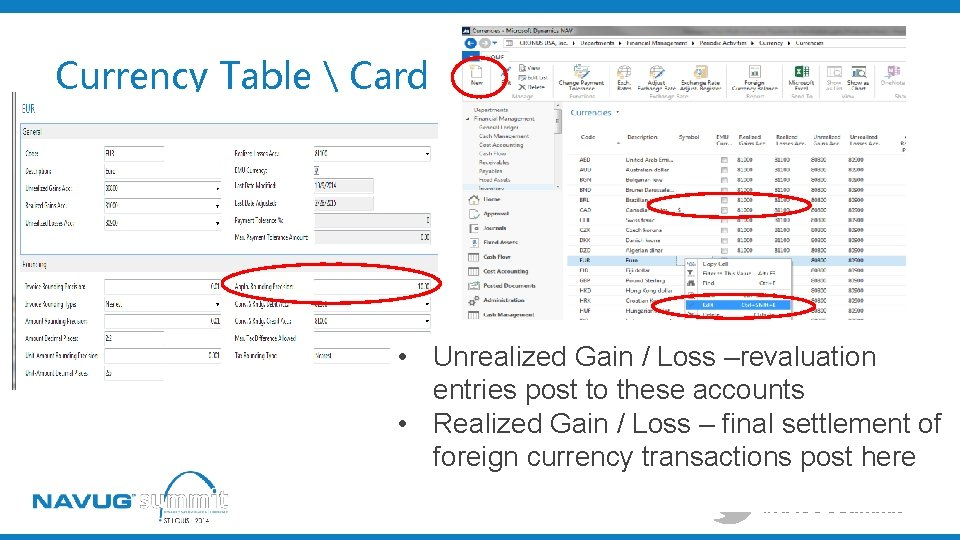 Currency Table  Card • Unrealized Gain / Loss –revaluation entries post to these