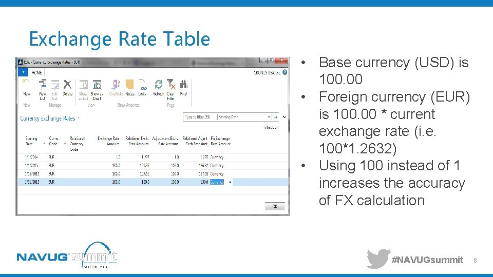 Exchange Rate Table • Base currency (USD) is 100. 00 • Foreign currency (EUR)