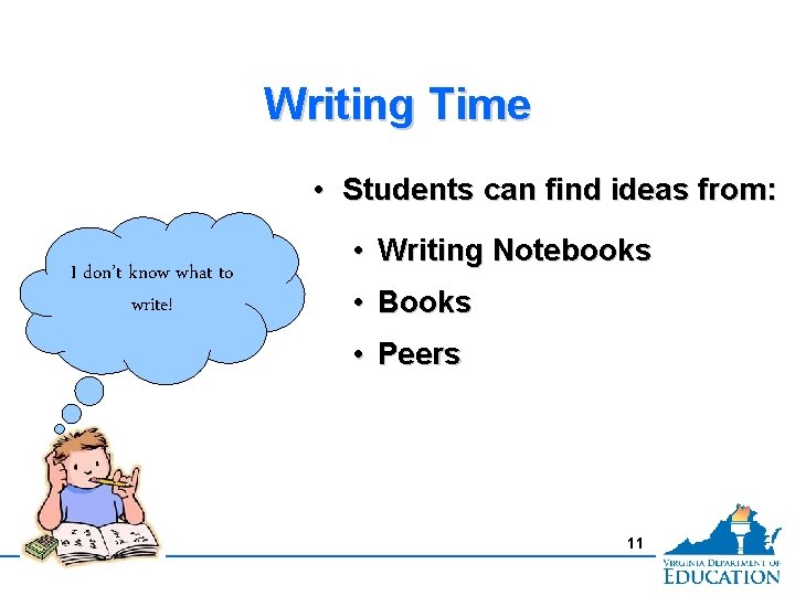 Writing Time • Students can find ideas from: I don't know what to write!