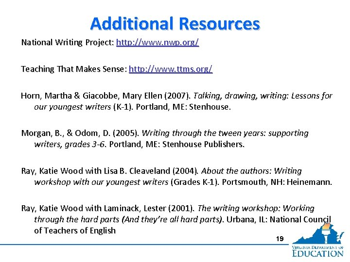 Additional Resources National Writing Project: http: //www. nwp. org/ Teaching That Makes Sense: http: