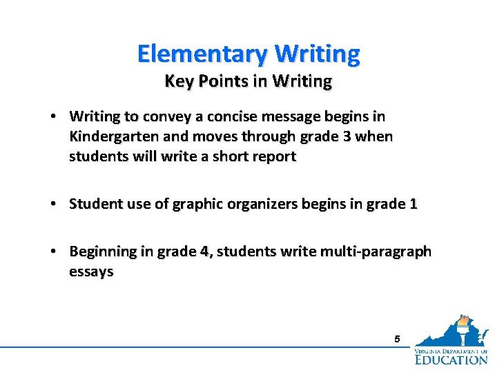 Elementary Writing Key Points in Writing • Writing to convey a concise message begins