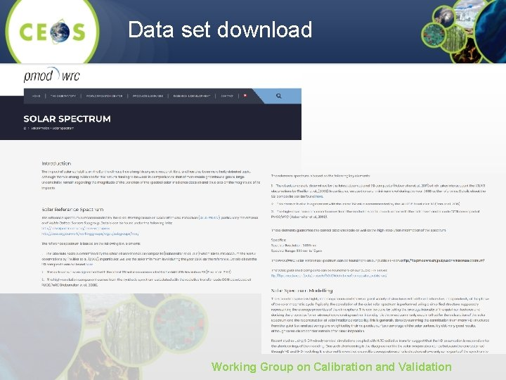 Data set download Working Group on Calibration and Validation