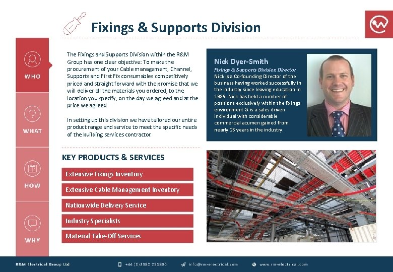 Fixings & Supports Division The Fixings and Supports Division within the R&M Group has