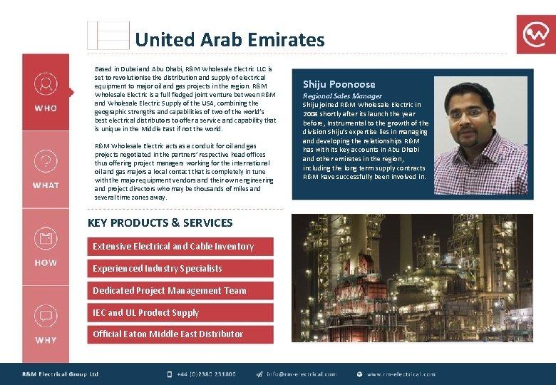 United Arab Emirates Based in Dubai and Abu Dhabi, R&M Wholesale Electric LLC is