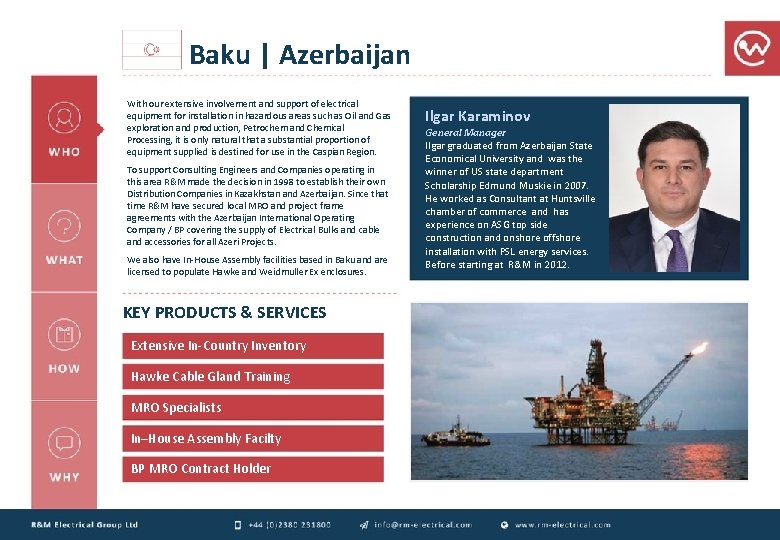 Baku   Azerbaijan With our extensive involvement and support of electrical equipment for installation