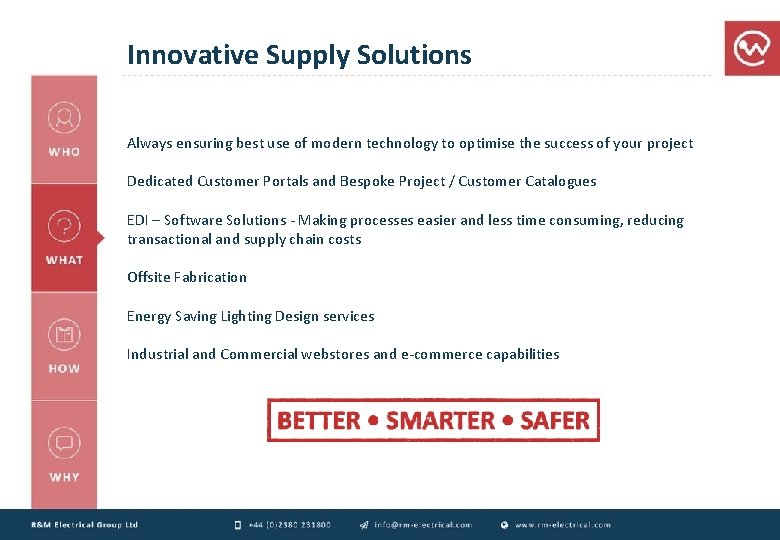 Innovative Supply Solutions Always ensuring best use of modern technology to optimise the success
