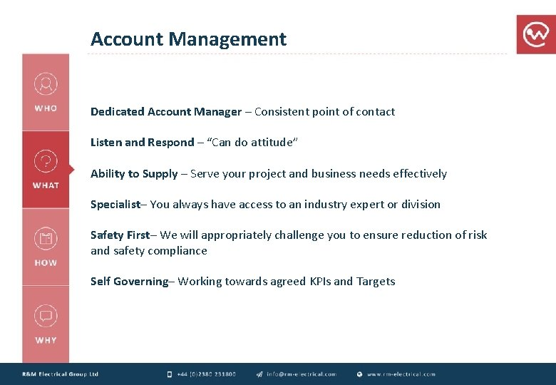 Account Management Dedicated Account Manager – Consistent point of contact Listen and Respond –