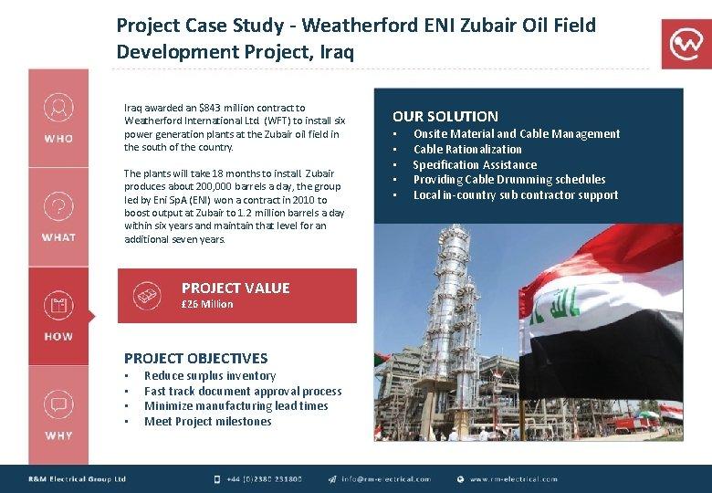 Project Case Study - Weatherford ENI Zubair Oil Field Development Project, Iraq awarded an