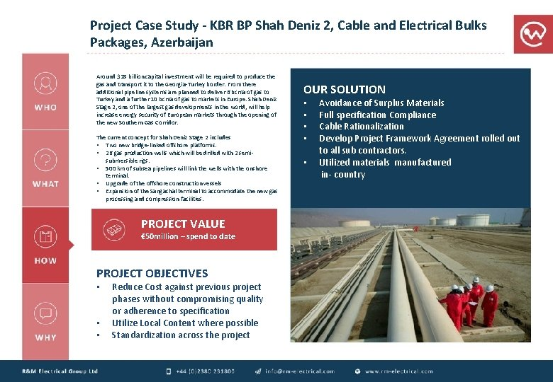 Project Case Study - KBR BP Shah Deniz 2, Cable and Electrical Bulks Packages,