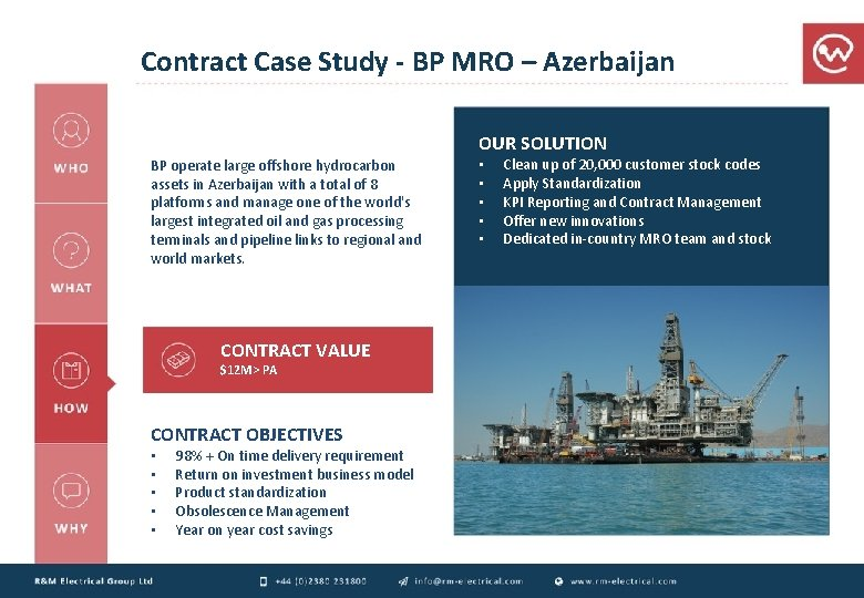 Contract Case Study - BP MRO – Azerbaijan OUR SOLUTION BP operate large offshore