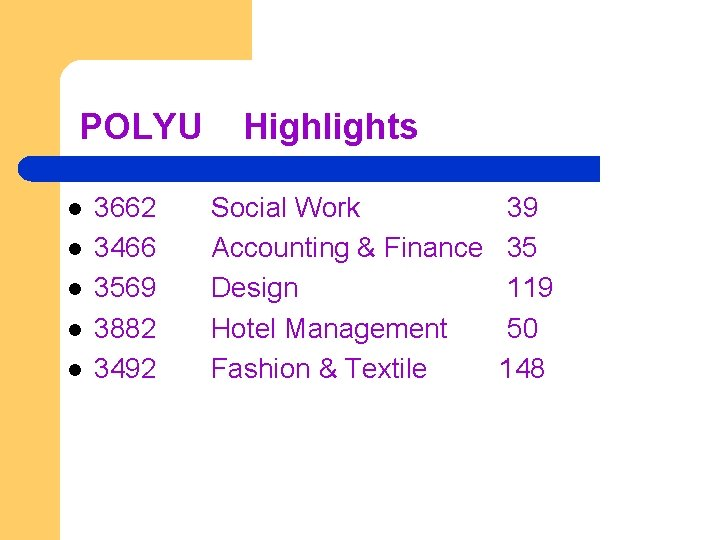 POLYU l l l 3662 3466 3569 3882 3492 Highlights Social Work Accounting &