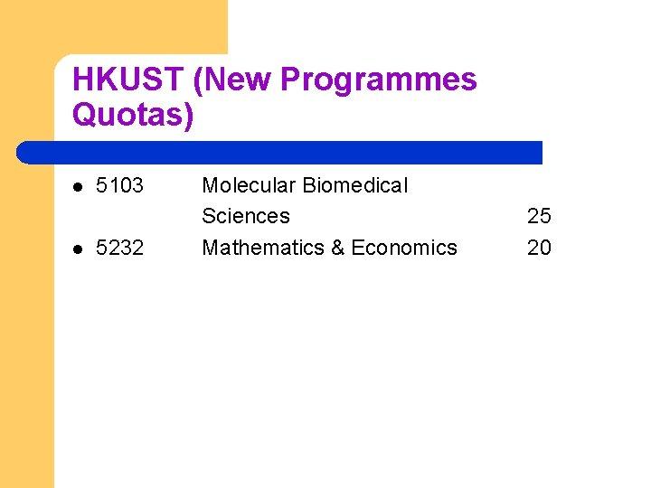 HKUST (New Programmes Quotas) l l 5103 5232 Molecular Biomedical Sciences Mathematics & Economics