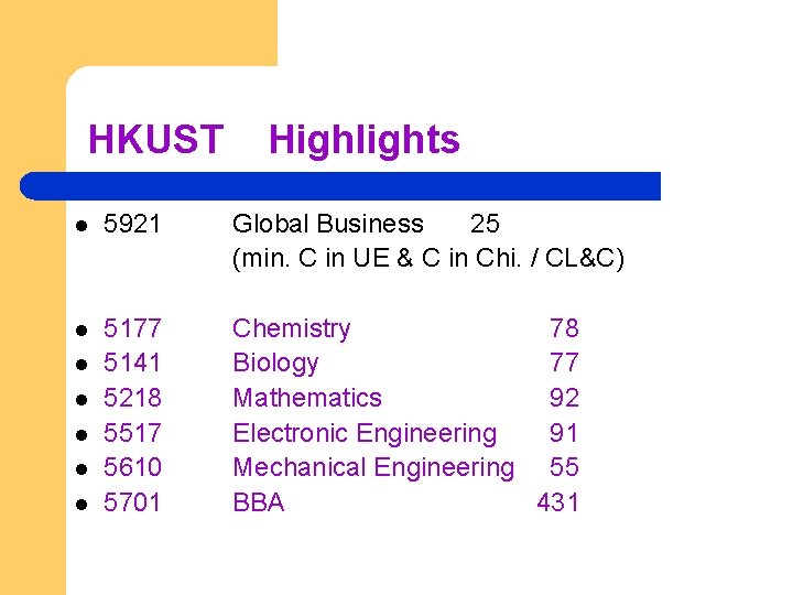 HKUST Highlights l 5921 Global Business 25 (min. C in UE & C in